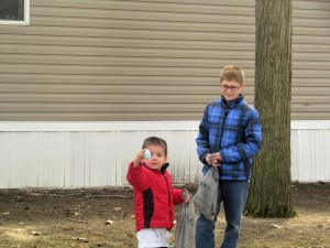 caiden and austin egg hunt